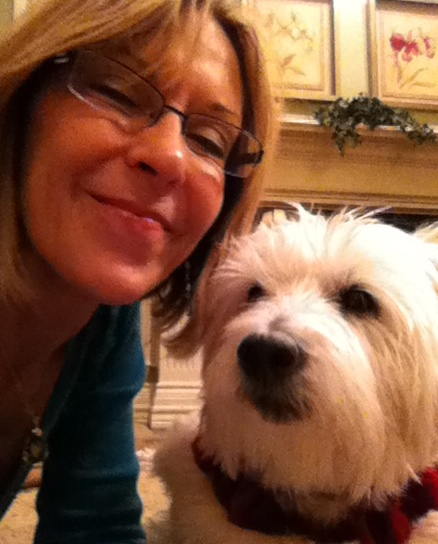 Here I am with Fluffy around Christmastime.  She was helping me wrap presents