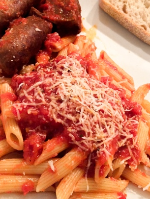 Penne with tomato sauce and Italian sausage